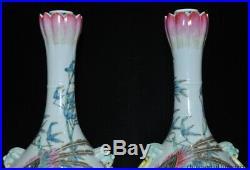 China Pastel porcelain phoenix bird Crane lotus Bottle Pot Vase Jar Statue Pair