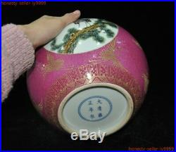 China Pink porcelain Enamel Gilt Crane bird Zun Cup Bottle Pot Vase Jar statue