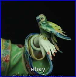 China Pottery Wucai Porcelain Palace Parrot Bird Court ladies Decoration Statue