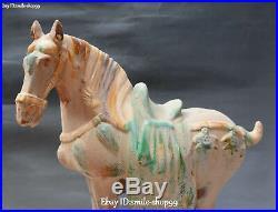 China Tang Sancai Pottery Porcelain Bird Zodiac Year Tang Horse Animal Statue