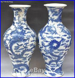 China White Blue Porcelain Cranes Bird Dragon Lion Flower Vase Bottle Pot Pair