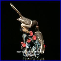 China WuCai Pottery Porcelain Auspicious Lucky Animal Two Birds Statue