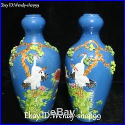 China Wucai Porcelain Cranes Bird Leaf Tree Flower vase Bottle Flask Pot Pair