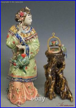 China Wucai Porcelain Pottery Ceramic Belle Women Noble Lady Play Bird Figurine