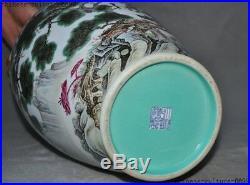 China Wucai porcelain Gilt Shanzi pine bird Crane bat statue Bottle Pot Vase Jar