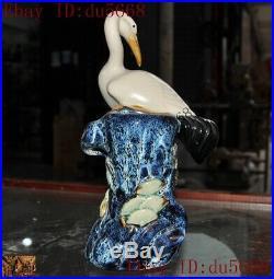 China Wucai porcelain carved pine lucky Crane bird statue brush pot pencil vase