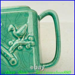 China Zhou Dynasty Chai Kiln Green Glaze Porcelain Flower Bird Flagon wine pot