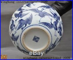 China blue&white porcelain Crane Cranes bird Zun Cup Bottle Pot Vase Jar Statue
