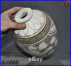 China jizhou kiln Old porcelain glaze bird eagle Zun Bottle Pot Vase Jar Statue