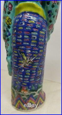 China porcelain 8 statue pottery sculpture woman blue dress birds flowers