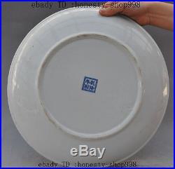 China wucai Porcelain Plum Peony Magpie bird auspicious lucky statue Plate Tray