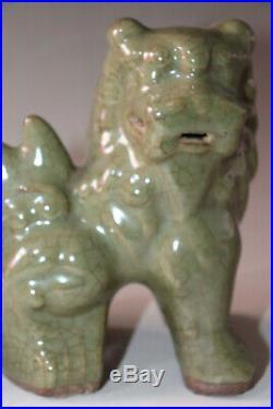 Chinese A Pair Celadon LongQuan Kiln Porcelain Figurines & Statues Foo Dog