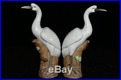 Chinese A pair Beautiful Famille Rose Porcelain Crane