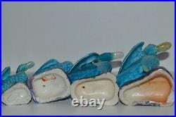 Chinese Antique Export Turquoise Blue Porcelain Figural Goose Ducks Set of 7