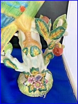 Chinese Antique Porcelain Parrot Export Figurines Excellent