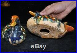 Chinese Dynasty Tang Sancai Porcelain mandarin duck Auspicious bird Statue Pair
