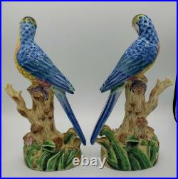 Chinese Export Porcelain Parrot Bird Pair Statute Figurines 11 1/4 H
