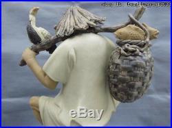 Chinese Folk Pottery Wucai Porcelain Lucky Bird station Fisherman Fishing Statue