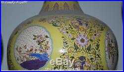 Chinese Porcelain Ancient Swallow Birds Fruit Flower Vase Bottle Pot Jar Statue
