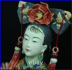 Chinese Pottery Wucai Porcelain Decoration Woman Ladies Girl Parrot Bird Statue