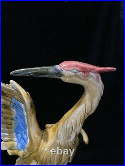 Chinese Tall Bird Porcelain Heron Statue Glazed Pottery Figure Qing Dynasty 14H