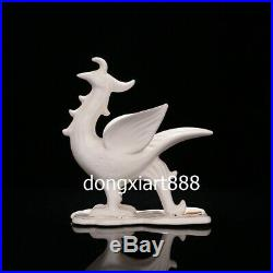 Chinese White Porcelain Myth four Immortals Beast Dragon Tiger Figurine Statue