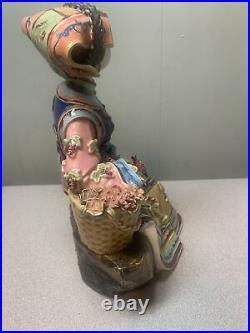 Chinese Wucai Porcelain Ceramic Figurine Belle Women Girl Flower Beautiful Lady