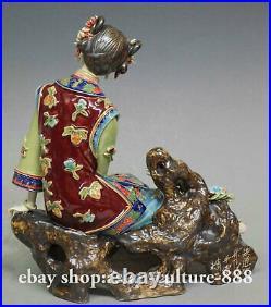 Chinese Wucai Porcelain pottery Ceramic Seat Lady Women Flower Happy Figurine