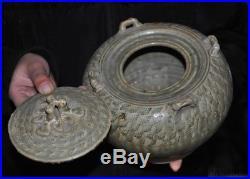 Chinese Yue Kiln Porcelain Glaze Pottery Swallows Bird Statue Tank Crock Pot Jar