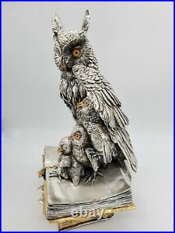 Cold Porcelain Covered In Sterling Silver Owl Family On Books statue/figurine