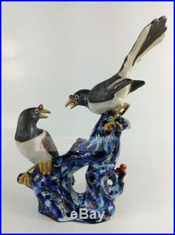 Collect Chinese Color Porcelain Look very happy Flower Bird Tree Ornament Statue