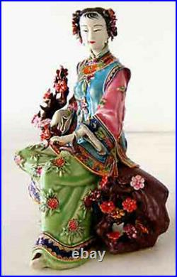 Collect Chinese pottery Wucai Porcelain Dynasty Belle Flower Happy Lady Statue