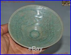 Collect old Rare Korea Koryo porcelain animal lucky bird Tea cup Bowl statue
