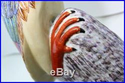 Crane Bird Figurine Statue Chinese Porcelain or Ceramic MajolicaVintage