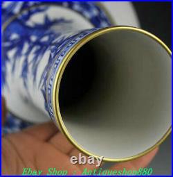 Daqing Kangxi Year Blue and white Porcelain Gold Gilt Bamboo Bird Vase Bottle