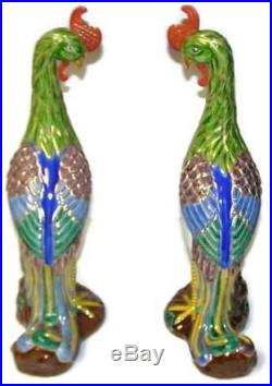 Decorative 20th Century Chinese Phoenix Bird Porcelain Figurine Statue Pair
