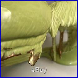 Early 20th Cty Large Jade Green + Gold Porcelain Chinese Feng Shui Pheasant Bird
