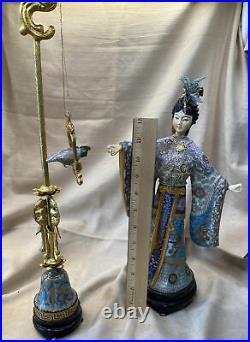 Elegant Porcelain and Cloisonné Figure / Statuette of Woman Feeding Perched Bird