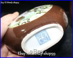 Enamel Color Porcelain Gilt Magpie Bird Plum Flower Tank Pot Jar Crock Pair