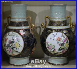 Enamel Color Porcelain Magpie Bird Plum Tree Vase Bottle Jardiniere Flask Pair