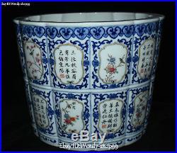 Enamel Color Porcelain Peom Magpie Bird Flower Barrel Brush Pot pencil vase