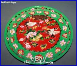 Enamel Porcelain Crane Bird Plum blossom Flower Wine Tea Pot Flagon Cup Tray Set