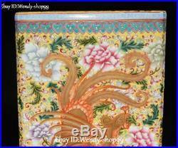 Enamel Porcelain Peony Flower Dragon Loong Phoenix Bird Brush Pot Pencil Holder