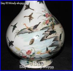 Enamel Porcelain Willow Tree Peony Flower Duck Crane Magpie Bird Vase Bottle Jar