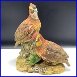 Ethan Allen figurine statue sculpture bird Japan red orange quail pair porcelain