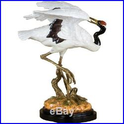 Exquisite Bronze Ormolu Porcelain Crane Bird Statue/Figurine, 21''H