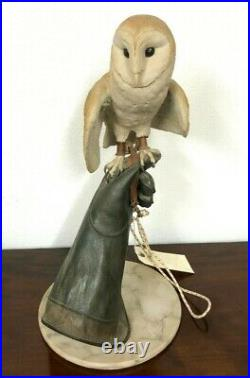 Falconry Glove And Barn Owl Model Statue By C Hewins