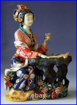 Figurine Chinese Porcelain Oriental Beautiful Lady Belle Women Play Chess Statue
