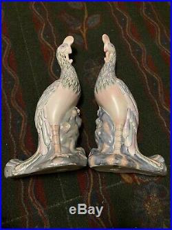 Fine Pair Chinese Republic Famille Rose Enamel Phoenix Bird 17porcelain Figures
