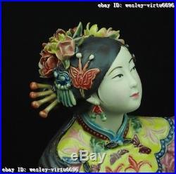 Folk 100%Pottery Wucai Porcelain Decoration Woman Ladies Girl Parrot Bird Statue